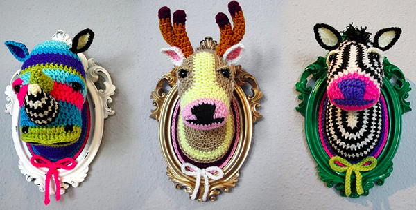 Crocheted Faux Taxidermy by Manafka Mina