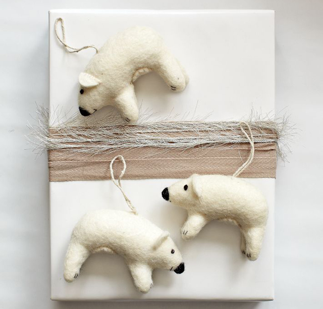 Felt Polar Bear Ornament from West Elm