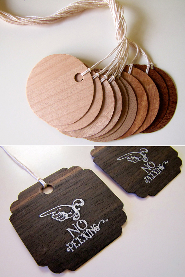 Wood Veneer Gift Tags by Woody Becker